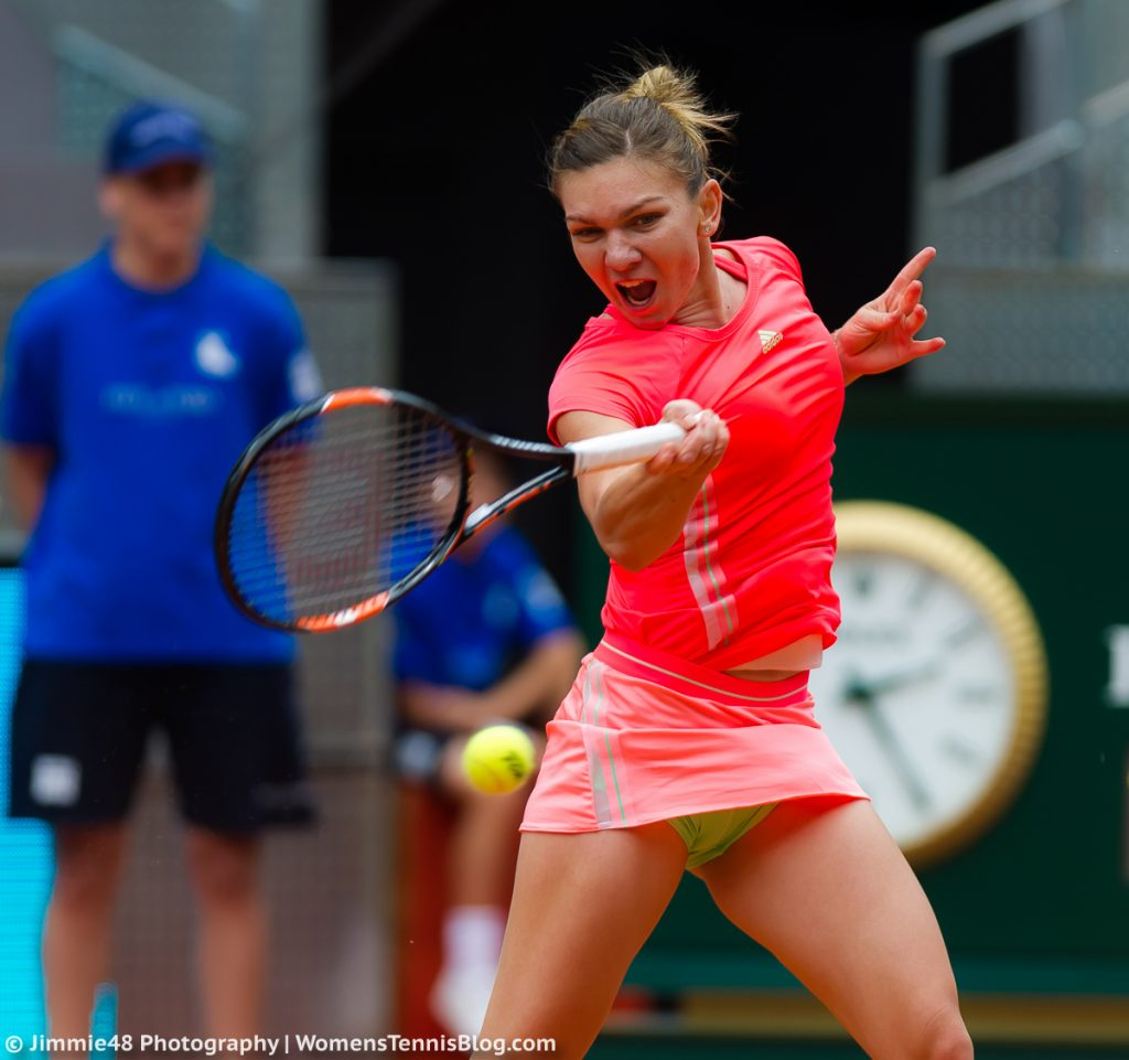 MADRID, SPAIN - MAY 3 : Simona Halep in action at the 2015 Mutua Madrid Open WTA Premier Mandatory tennis tournament
