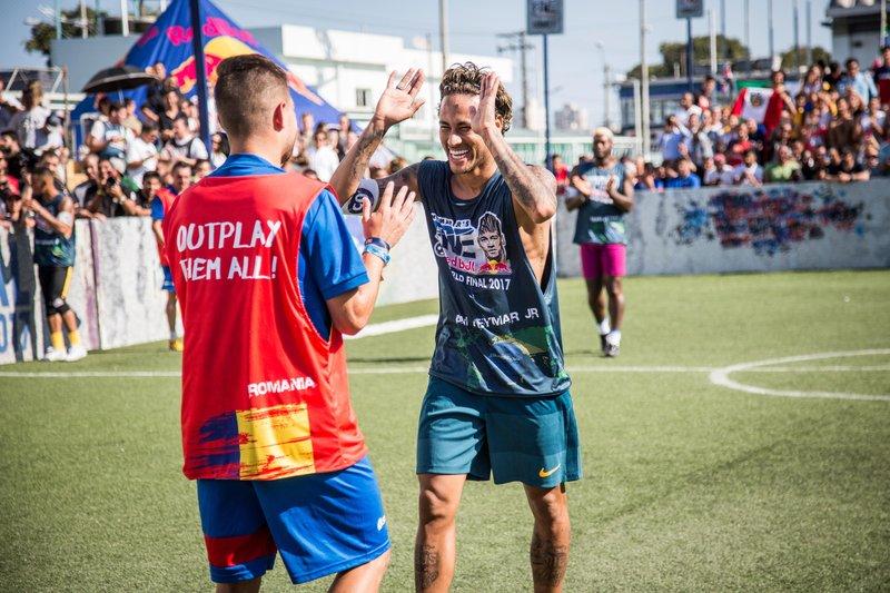 Neymar Jr and Team Romania are seen during the Neymar Jr's Five World Final in Praia Grande, Sao Paulo, Brazil on July 08, 2017